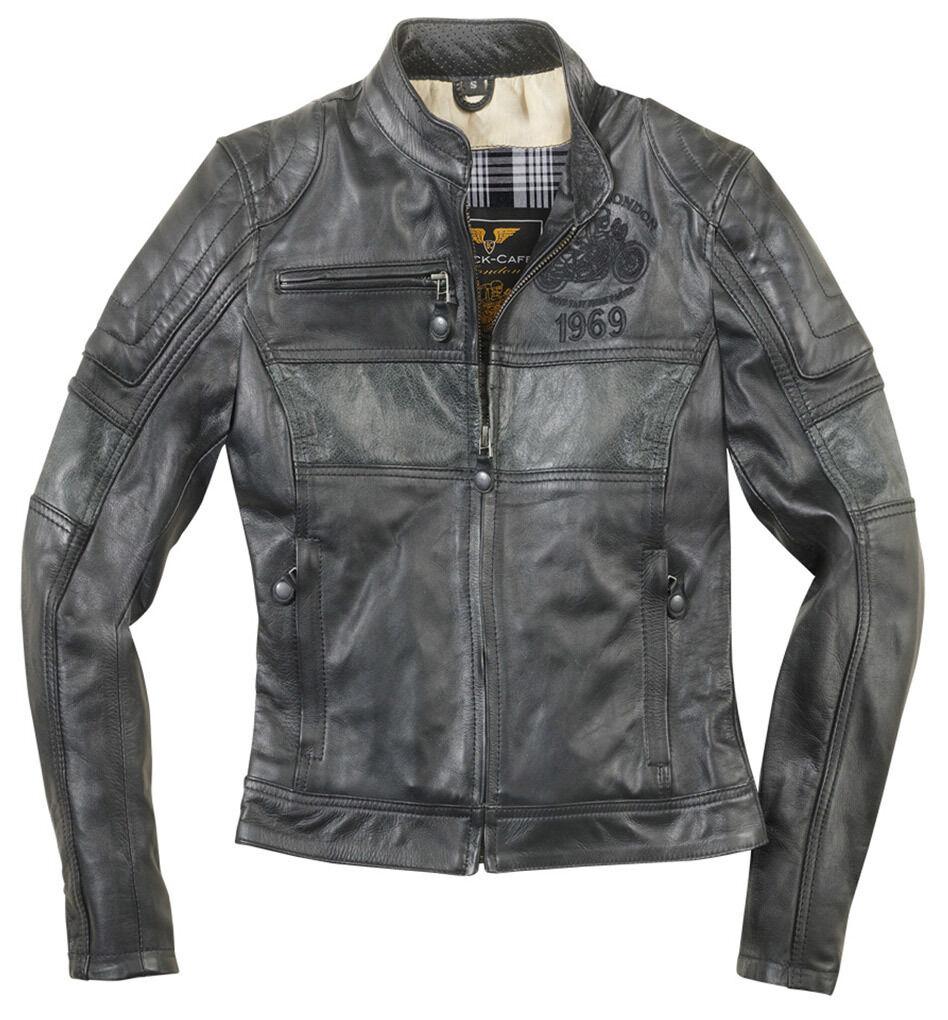 Black-Cafe London Shona II Veste en cuir de moto pour dames taille : S
