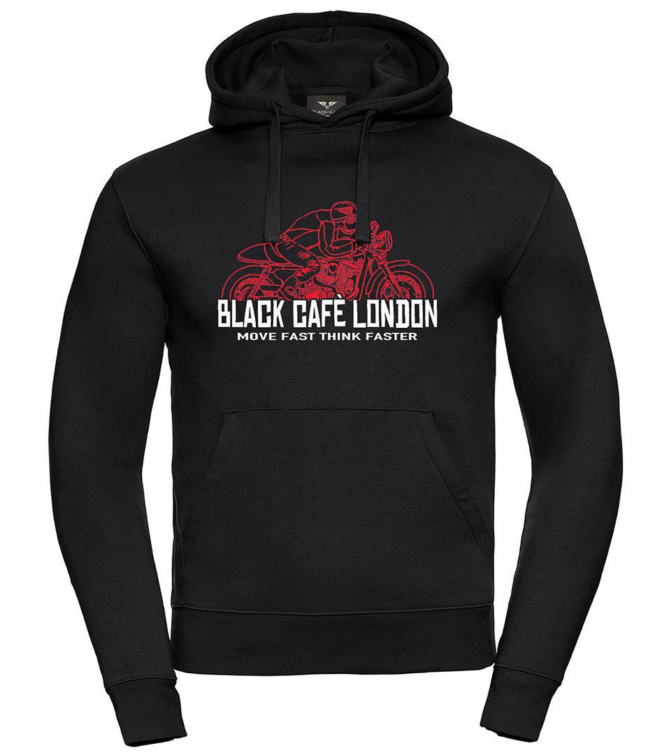 Black-Cafe London Fast Live Capuche Noir Rouge taille : L