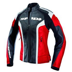 Spidi RR Veste de moto en cuir de dames Noir Rouge 44