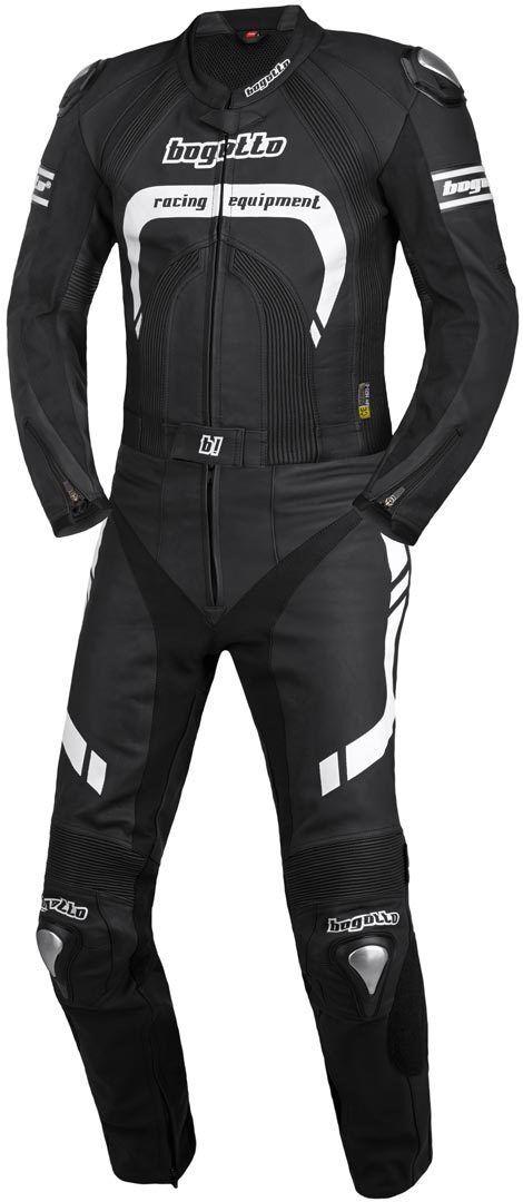 bogotto assen costume en cuir de moto de deux pièces noir blanc 50