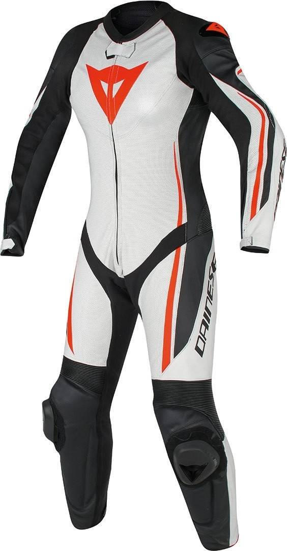 Dainese Assen One Piece Perforated Ladies Motorcycle Cuir Costume Noir Blanc Rouge 50