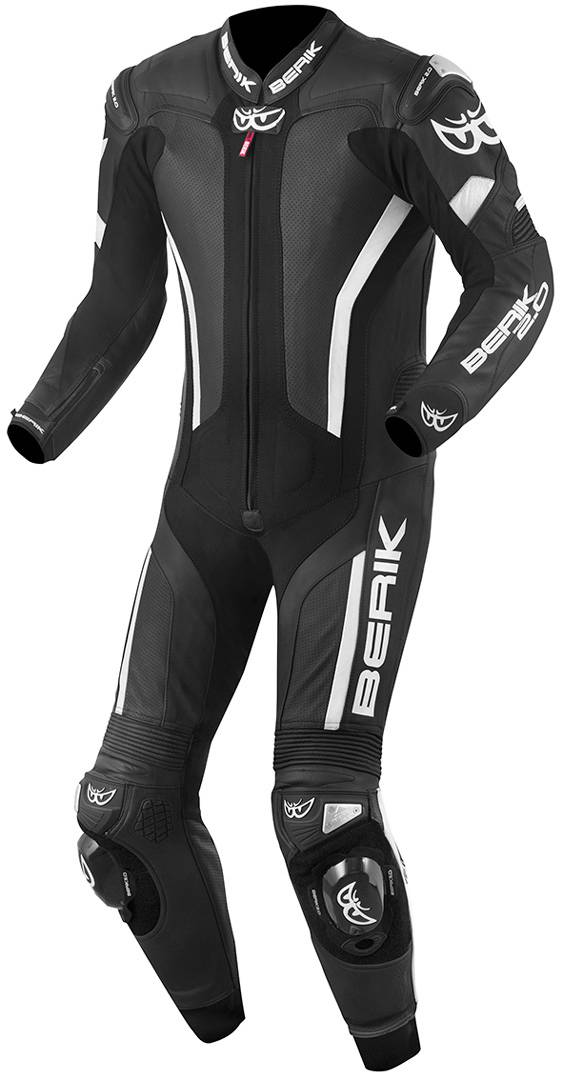 berik losail costume en cuir de moto d'une pièce noir blanc 54