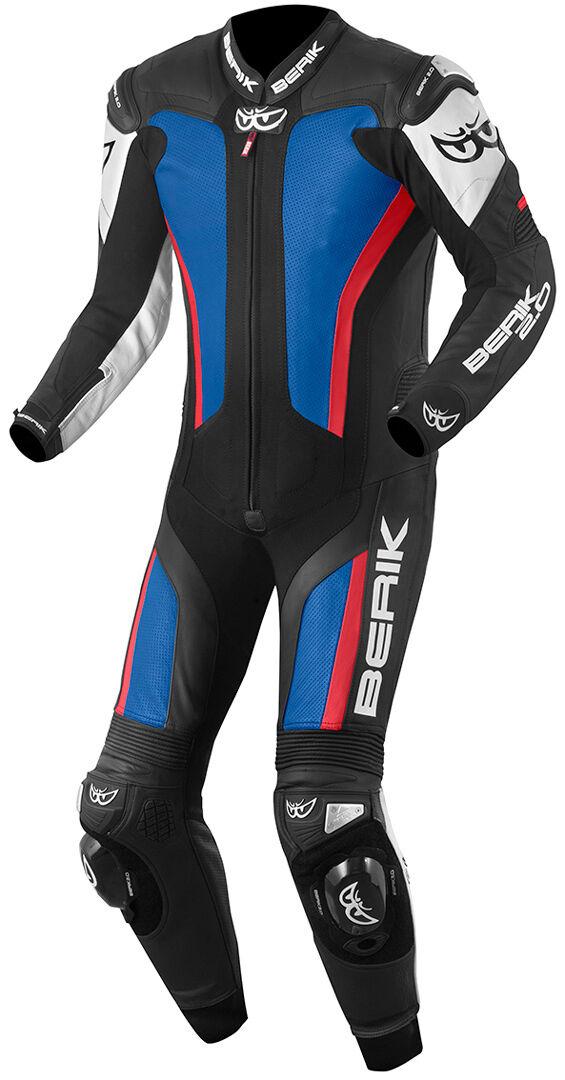 berik losail costume en cuir de moto d'une pièce blanc rouge bleu 48