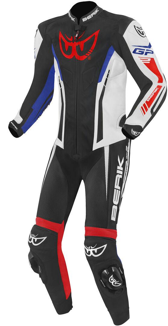 berik monza costume en cuir de moto d'une pièce noir blanc rouge bleu 54