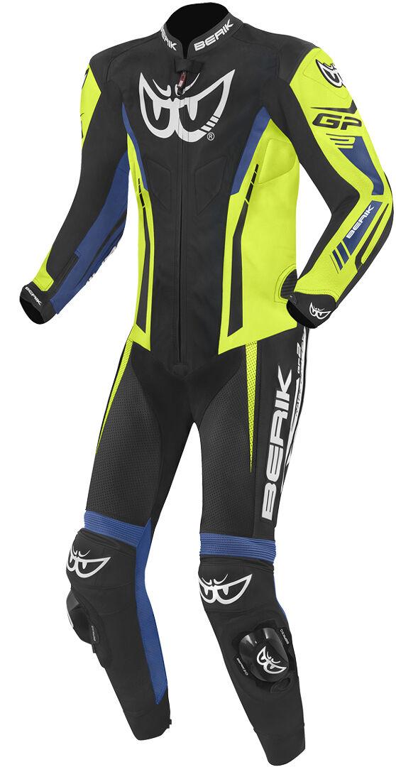 berik monza costume en cuir de moto d'une pièce noir bleu jaune 56