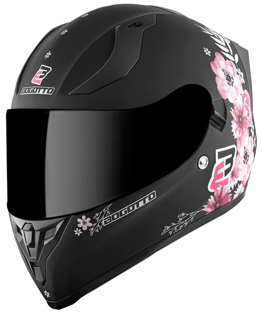 Bogotto V128 Fiori Casque de dames Noir Rose 2XL