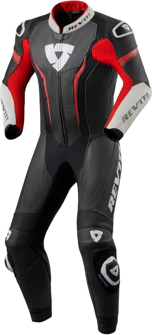 revit argon costume en cuir de moto d'une pièce noir blanc rouge 48