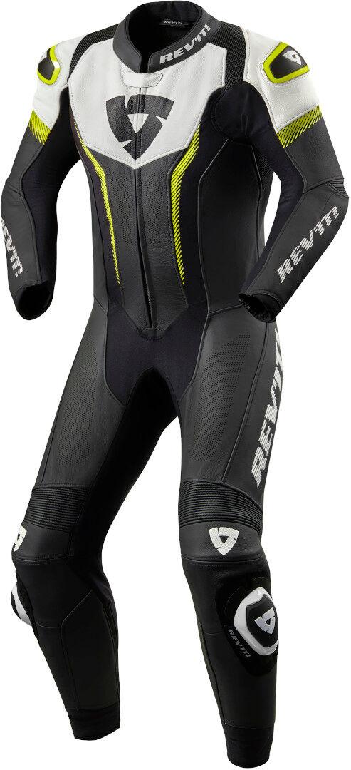 revit argon costume en cuir de moto d'une pièce noir blanc jaune 52