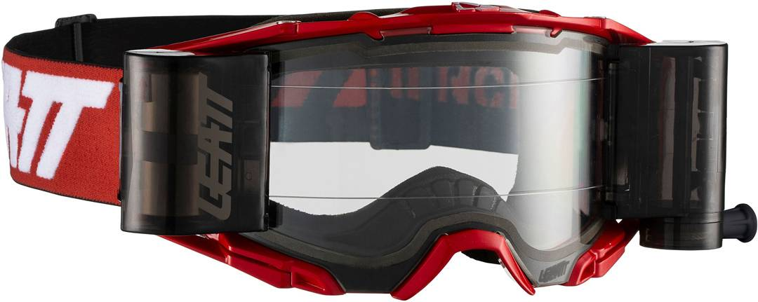 Leatt Velocity 6.5 Roll-Off Masques de motocross Blanc Rouge taille : unique taille