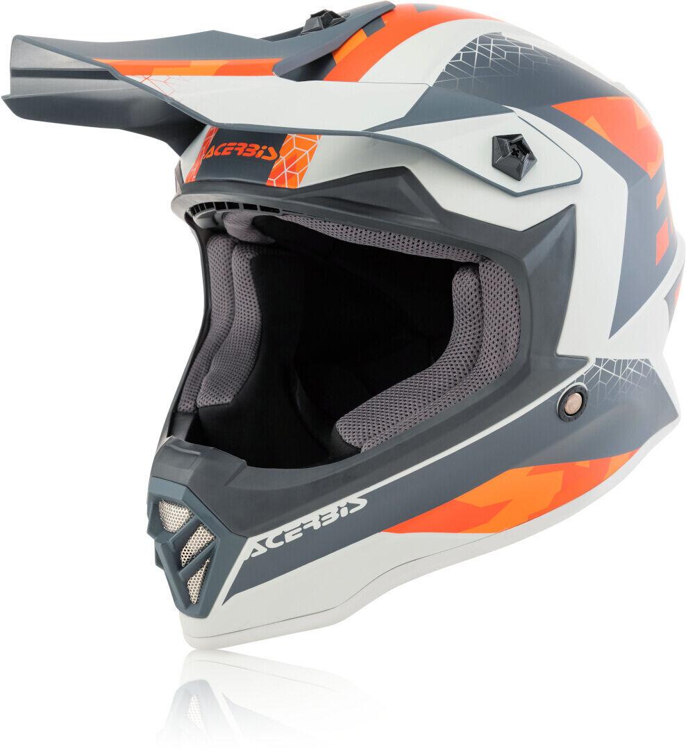 Acerbis Steel Junior Casque Motocross pour enfants Gris Orange taille : L