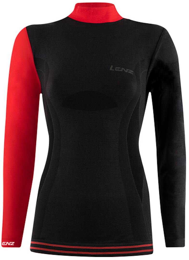 Lenz 6.0 Merino Turtle Neck Chemise Lady Longsleeve Noir Rouge taille : L