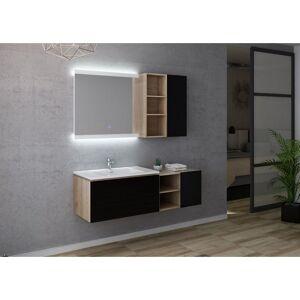 Distribain Meuble salle de bain ALASSIO 800 Scandinave Vintage & Noir - Publicité