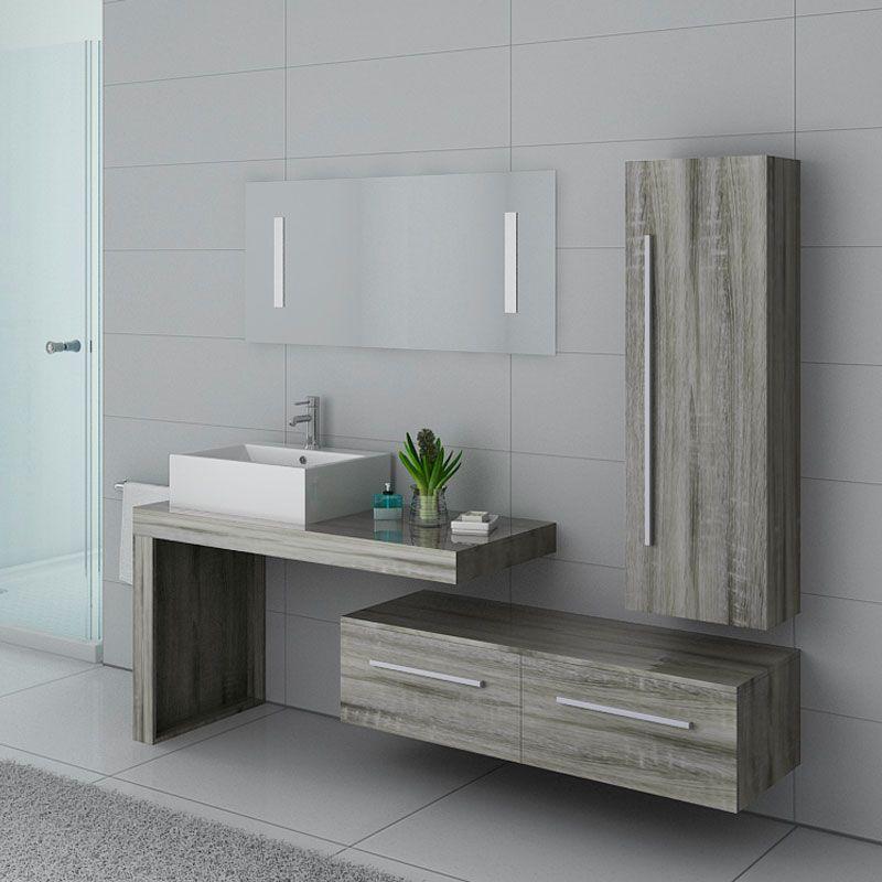 Distribain Meubles salle de bain DIS9250CG Chêne Gris