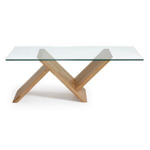 Kave Home - Table basse Waley en verre et structure en chêne massif 120 x 70 cm - Publicité