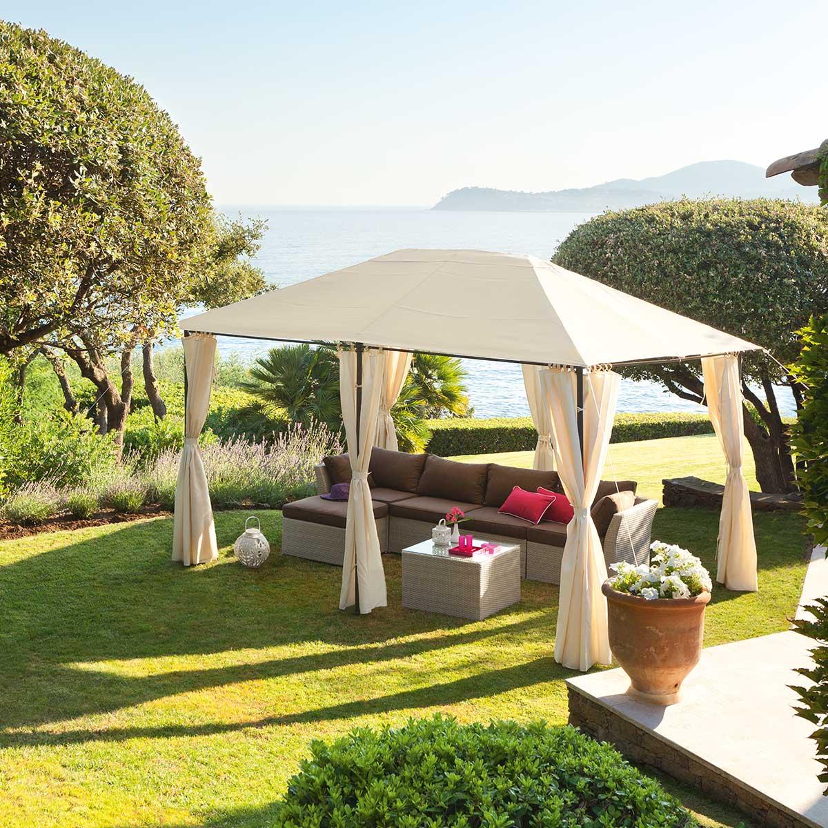 Hespéride Toile de tonnelle Santorini Écru Jardin 4 x 3 m - Polyester