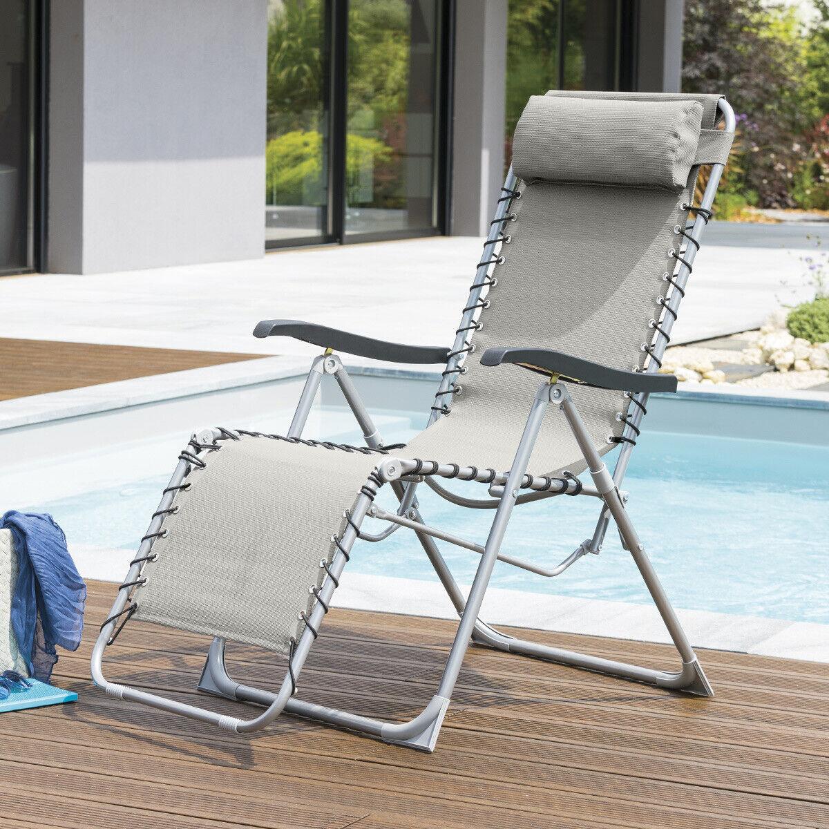Hespéride Fauteuil relax de jardin Silos Galet 5 positions - Acier traité époxy, Texaline