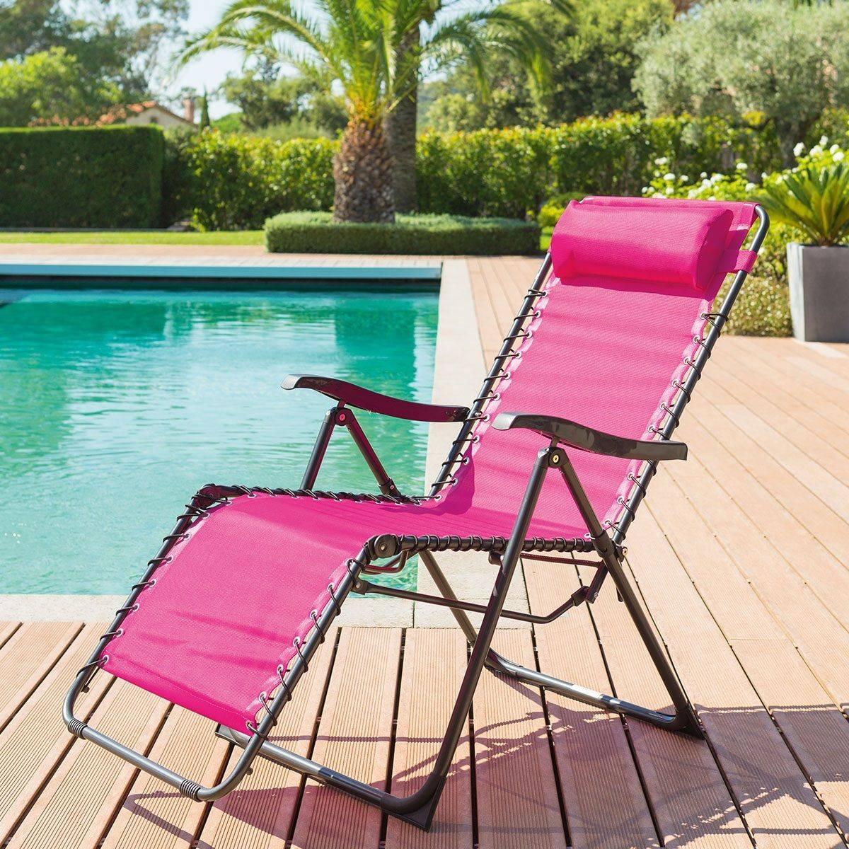 Hespéride Fauteuil relax de jardin Silos Framboise 5 positions - Acier traité époxy, Texaline