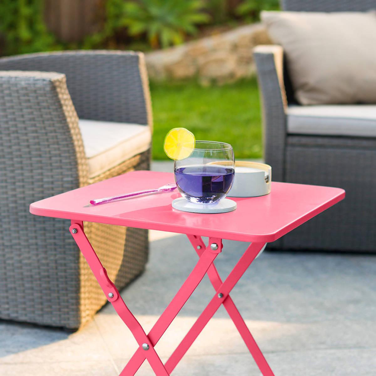 Hespéride Table d'appoint de jardin carrée Nindiri Framboise 40 x 40 x 45 cm - Acier cataphorèse, Peinture époxy
