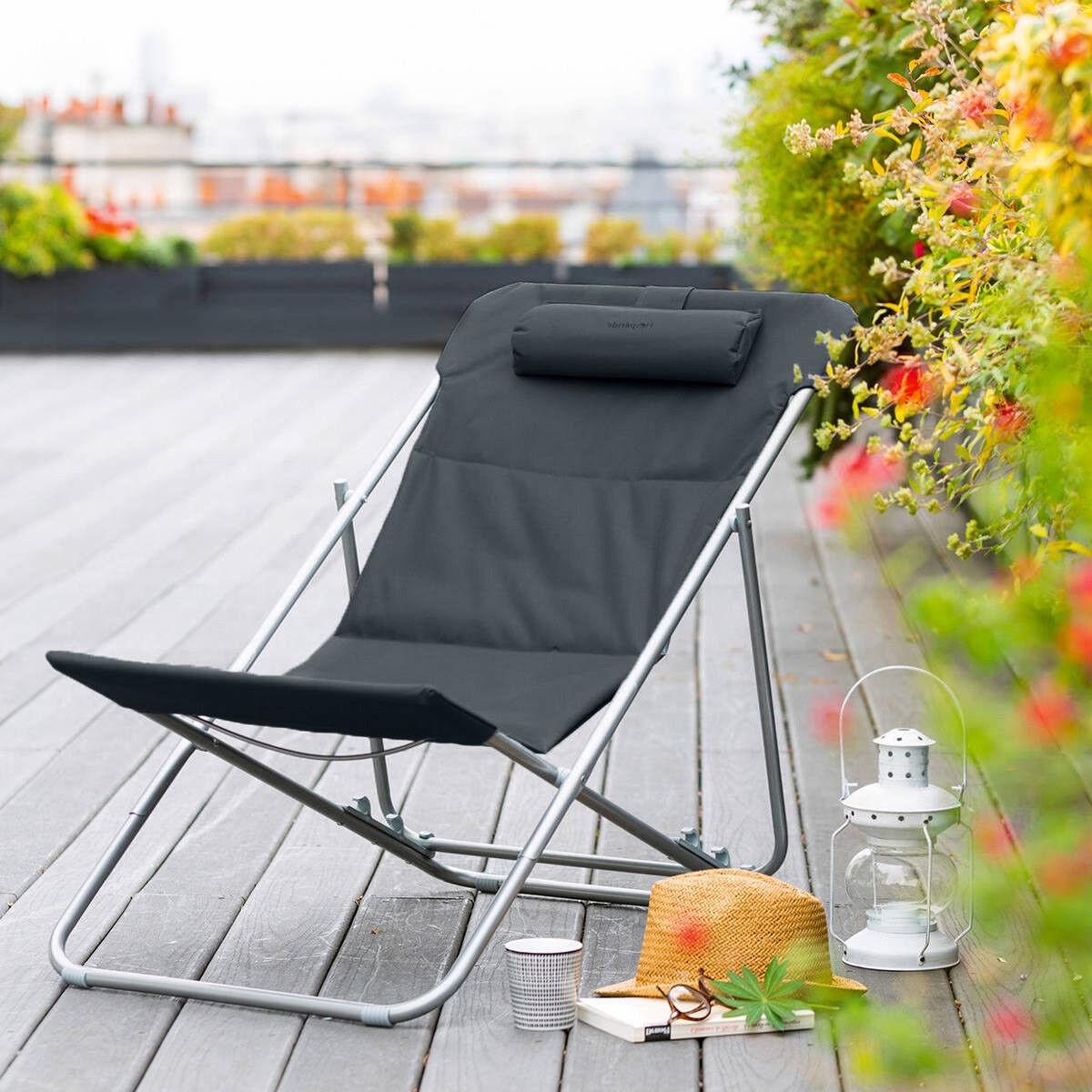 Hespéride Chilienne de jardin pliante Bilbao Ardoise 3 Positions - Acier traité époxy, Polyester
