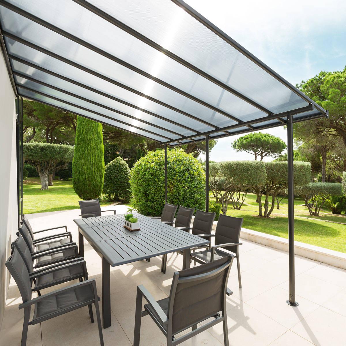 Hespéride Pergola Belize Noir mat Jardin 4 x 3 m - Aluminium traité époxy, Polycarbonate