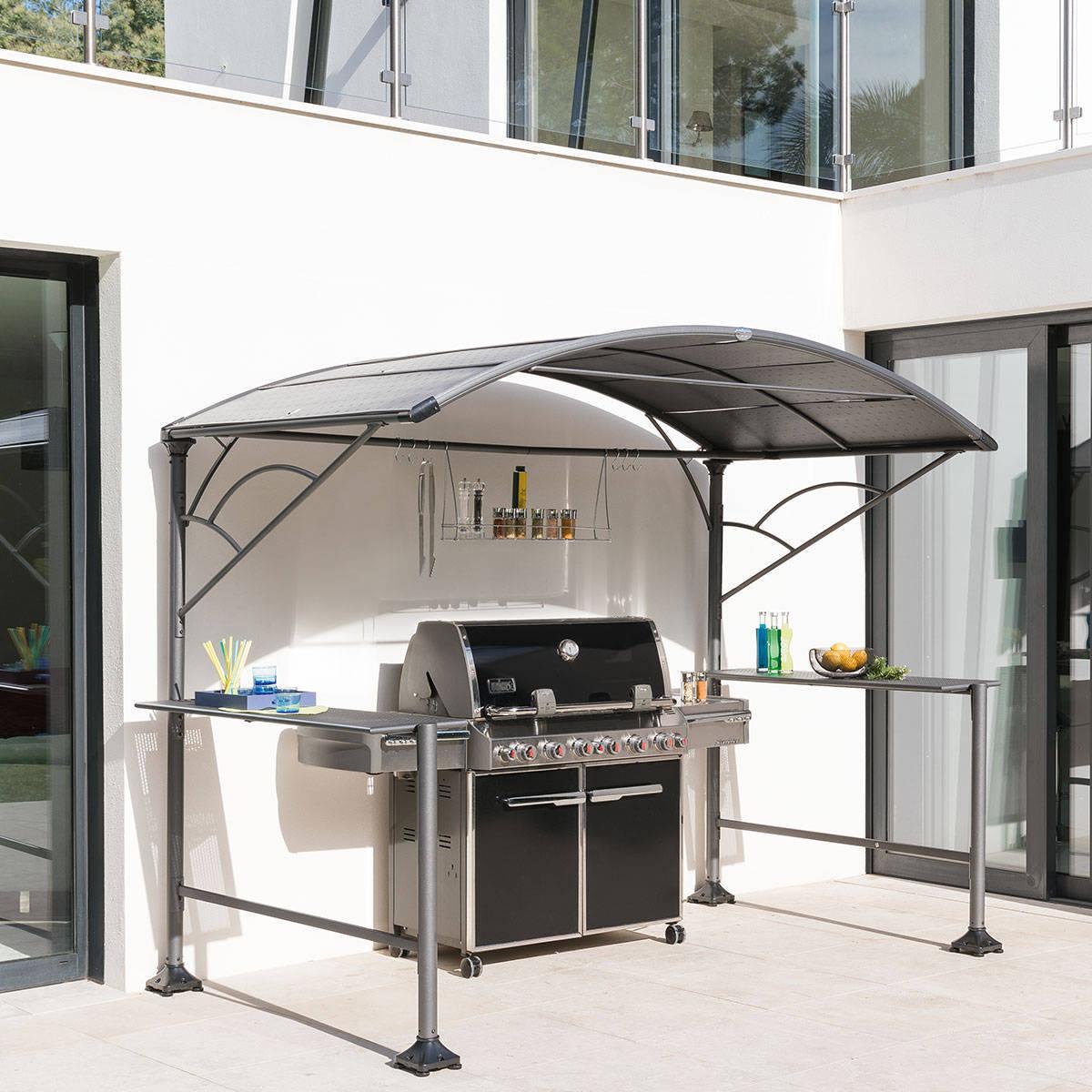Hespéride Abri à barbecue Neiba Graphite Jardin 2,96 x 1,5 m - Acier traité époxy