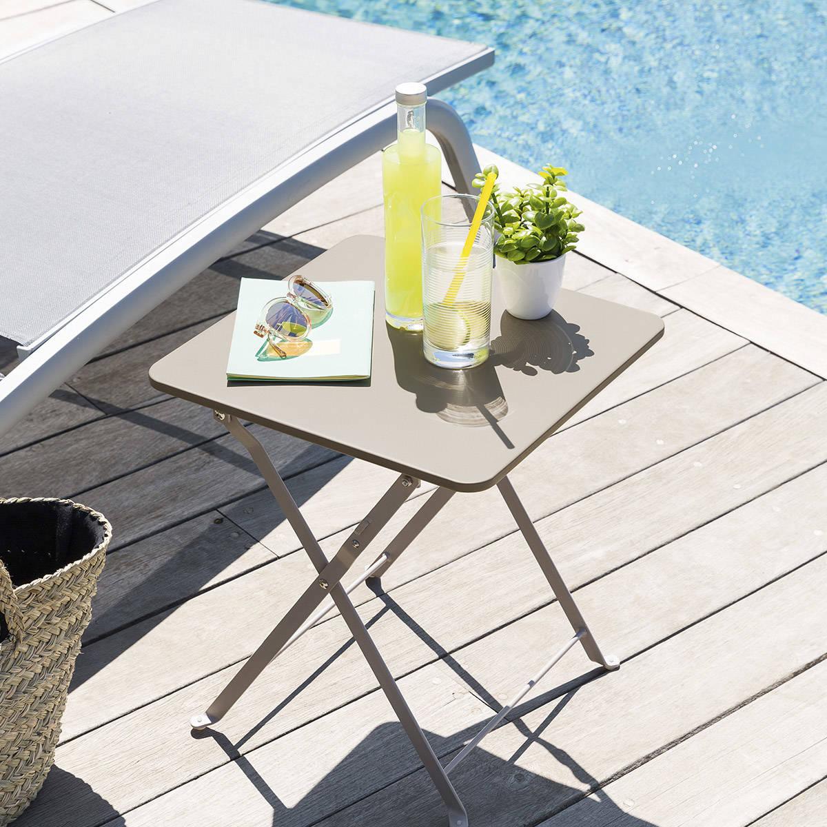 Hespéride Table d'appoint de jardin carrée Nindiri Taupe mat 40 x 40 x 45 cm - Acier cataphorèse, Peinture époxy