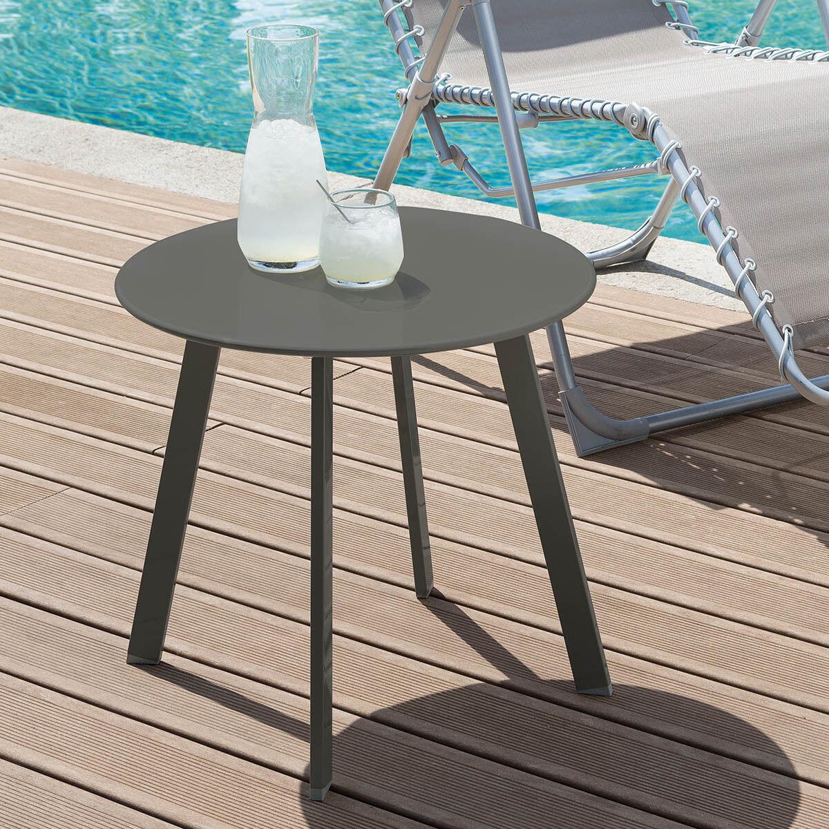 Hespéride Table d'appoint de jardin ronde Saona Ardoise mat 50 x 45 cm - Acier cataphorèse, Peinture époxy