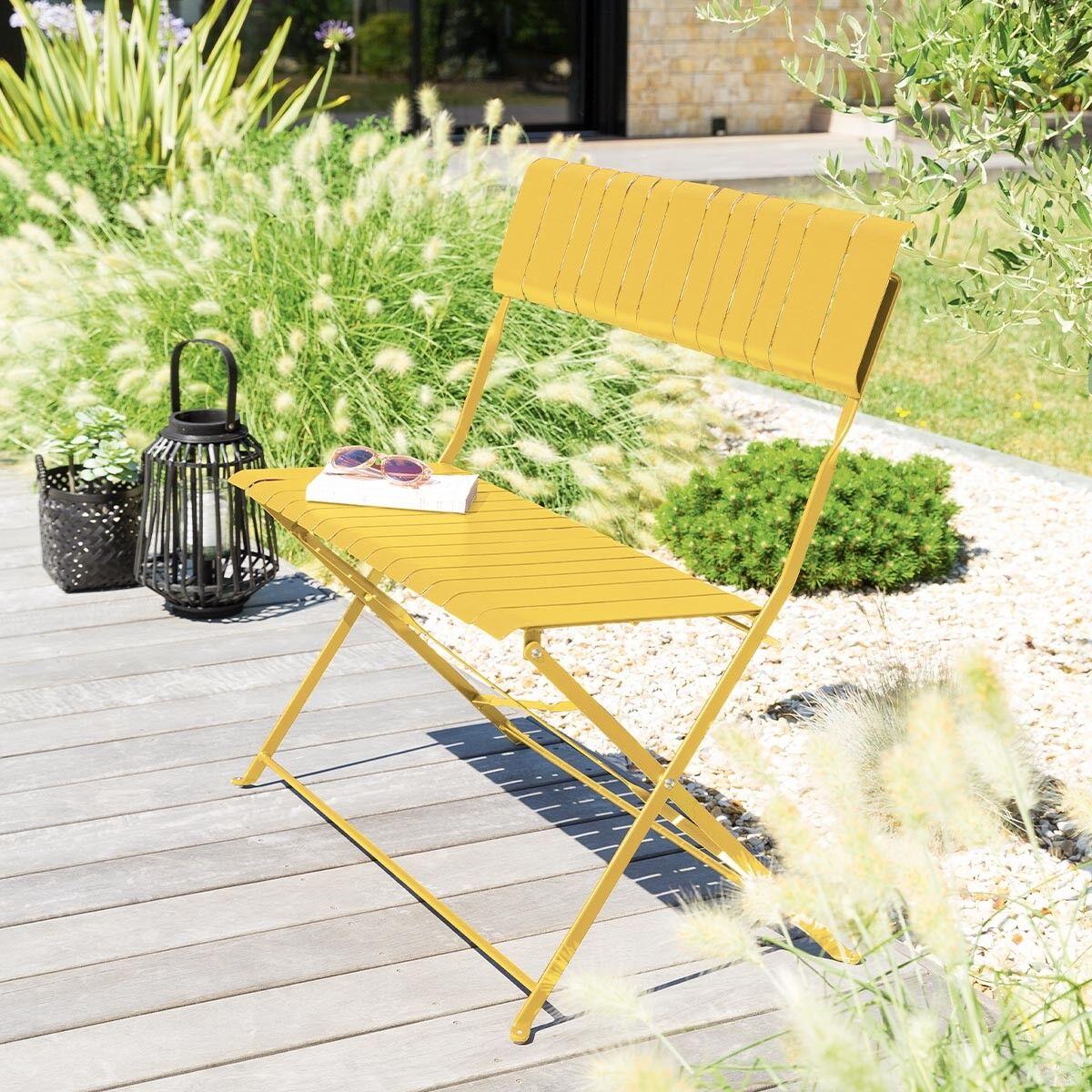 Hespéride Banc de jardin Nasca Jaune moutarde 2 places - Acier traité époxy