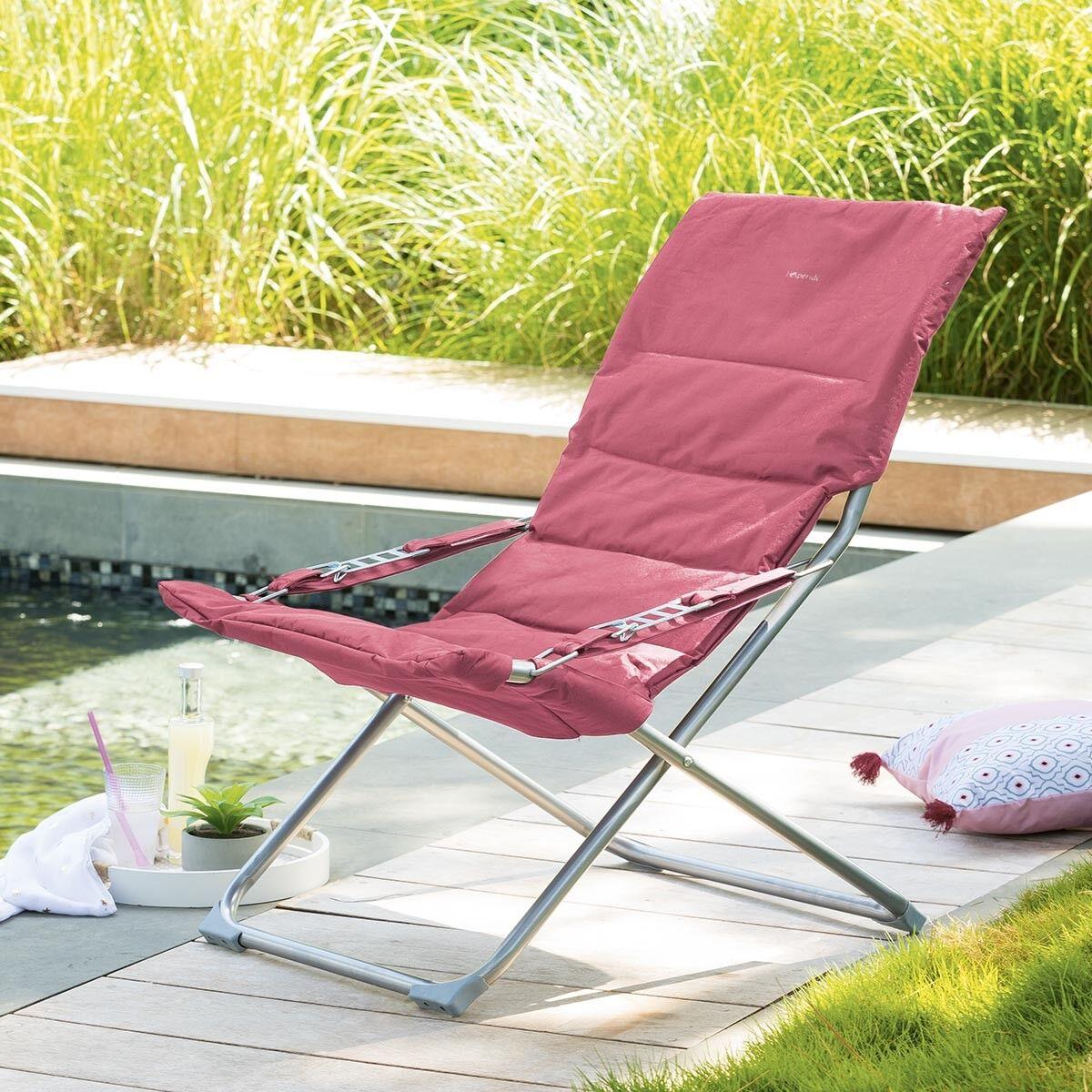 Hespéride Fauteuil relax de jardin Milos Ardoise Framboise 3 positions - Acier traité époxy, Polyester matelassé