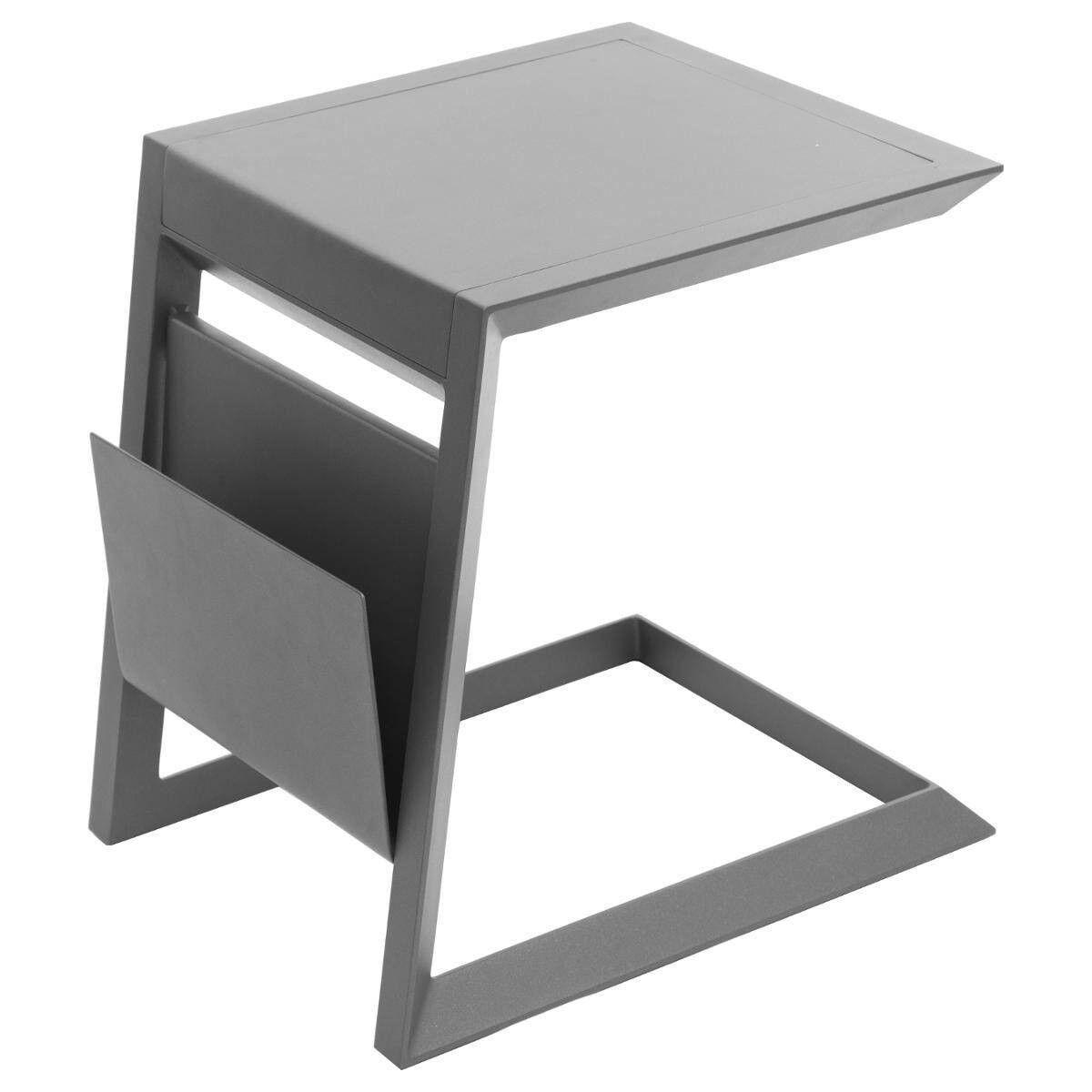 Hespéride Table d'appoint de jardin carrée Allure Graphite 55 x 45 x 55 cm - Aluminium traité époxy