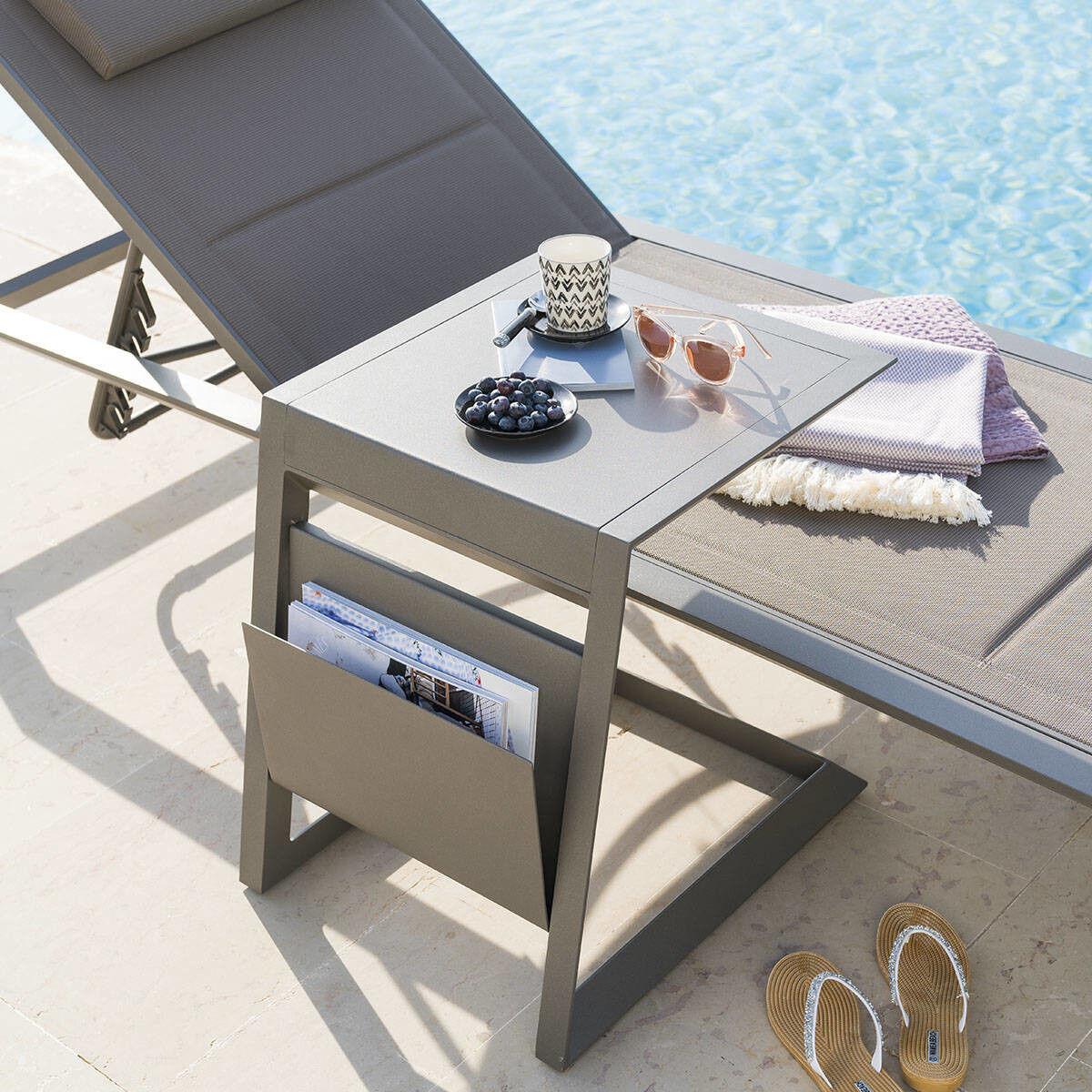 Hespéride Table d'appoint de jardin carrée Allure Praline 55 x 45 x 55 cm - Aluminium traité époxy
