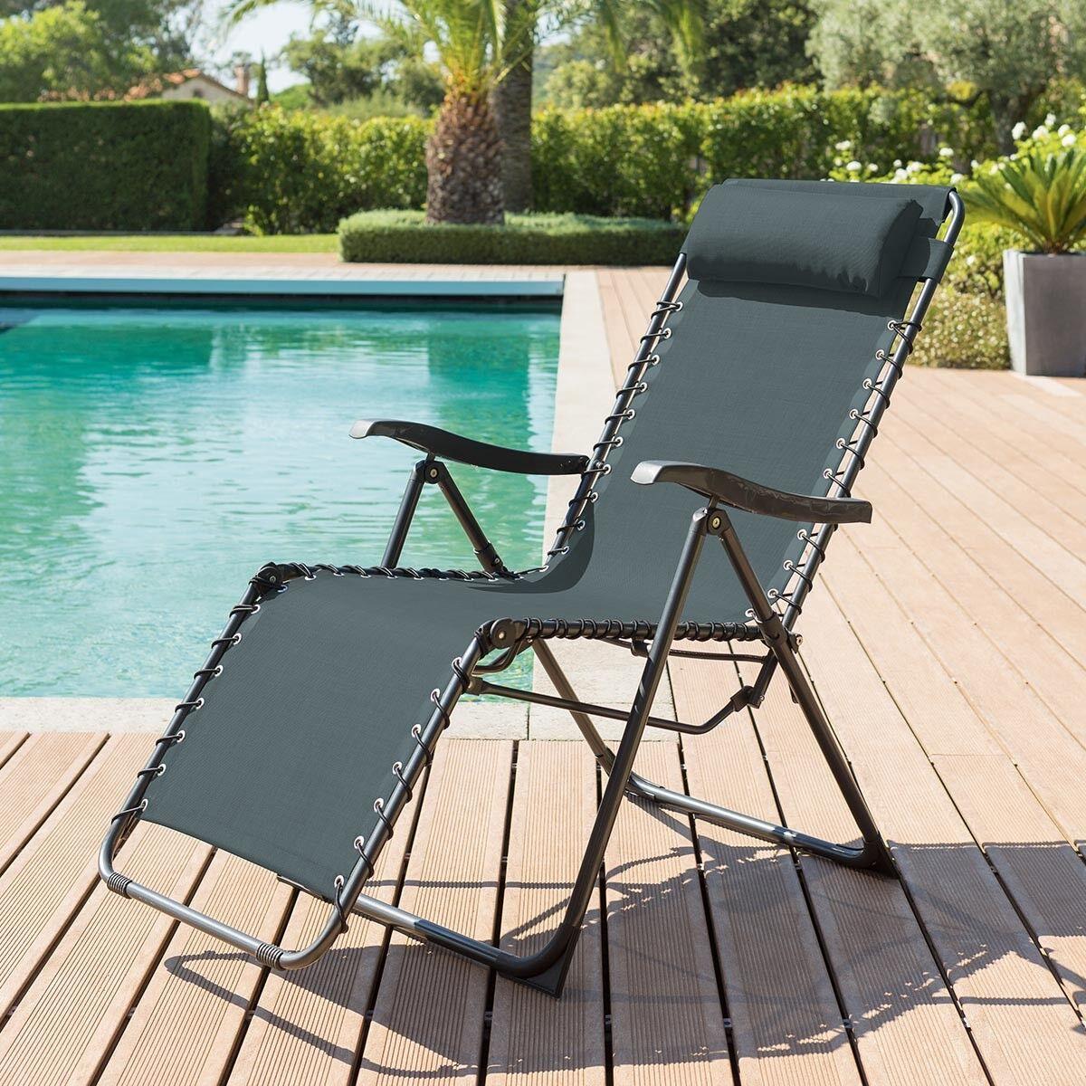 Hespéride Fauteuil relax de jardin Silos Bleu canard 5 positions - Acier traité époxy, Texaline