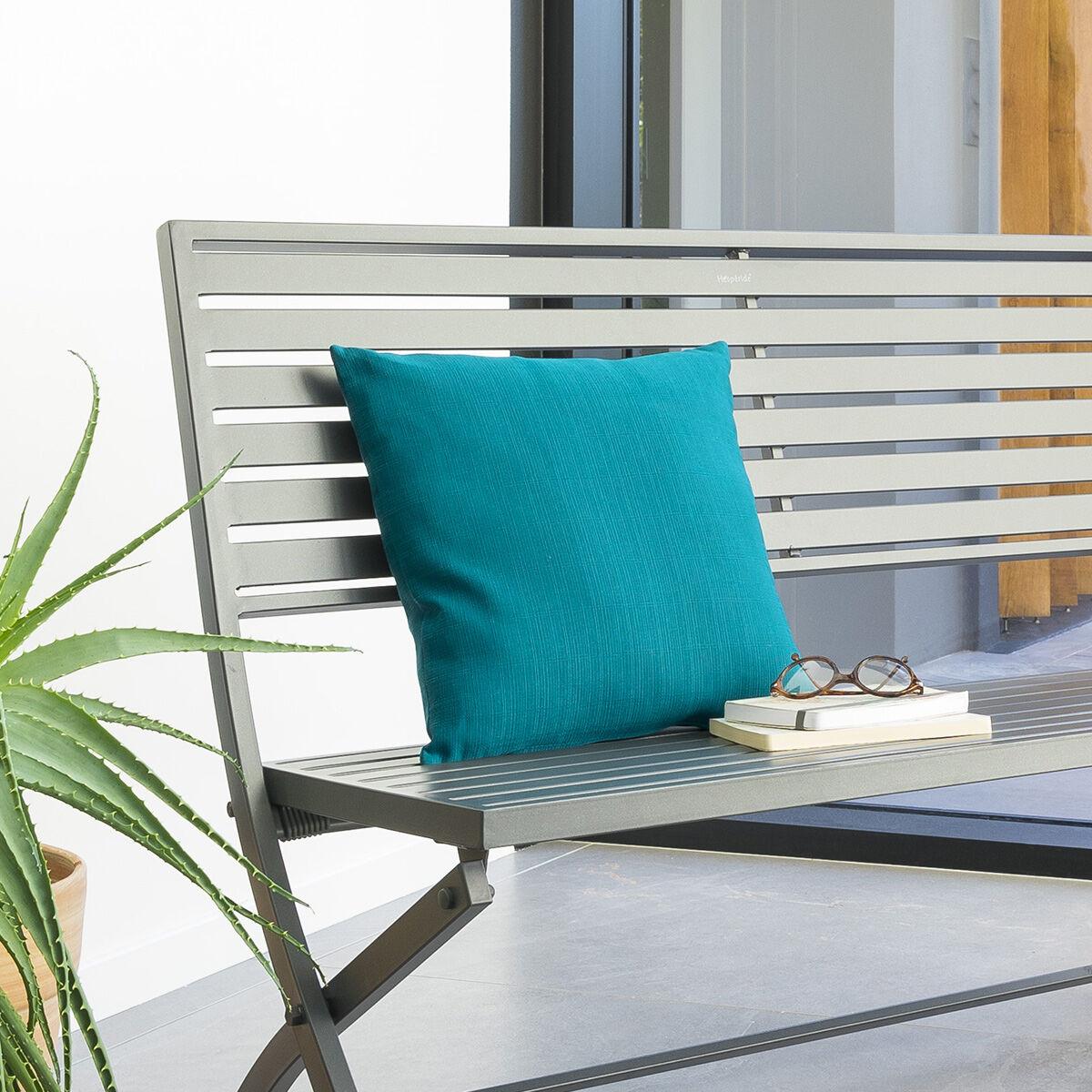 Hespéride Coussin déco d'extérieur Bleu canard Jardin 40 x 40 cm - Polyester