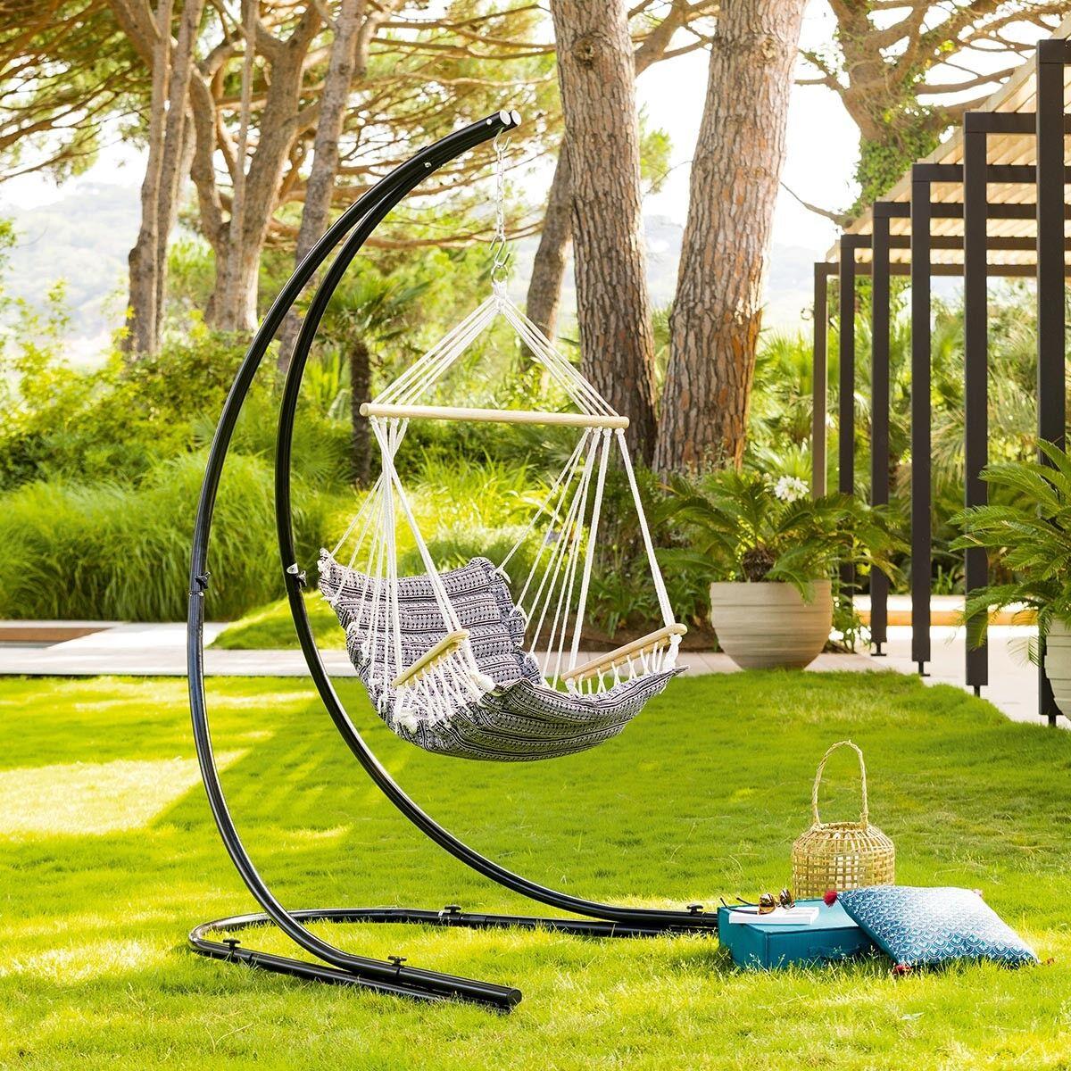 Hespéride Chaise de détente suspendue Jinja Noir   Blanc Jardin