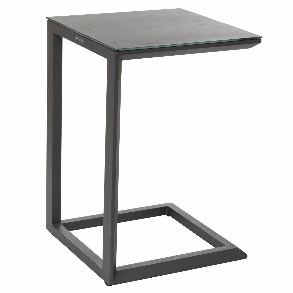 Hespéride Table d'appoint de jardin carrée Évasion Gris roc   Graphite 38 x 38 x 56,5 cm -Aluminium traité époxy, Verre trempé revêtement céramique