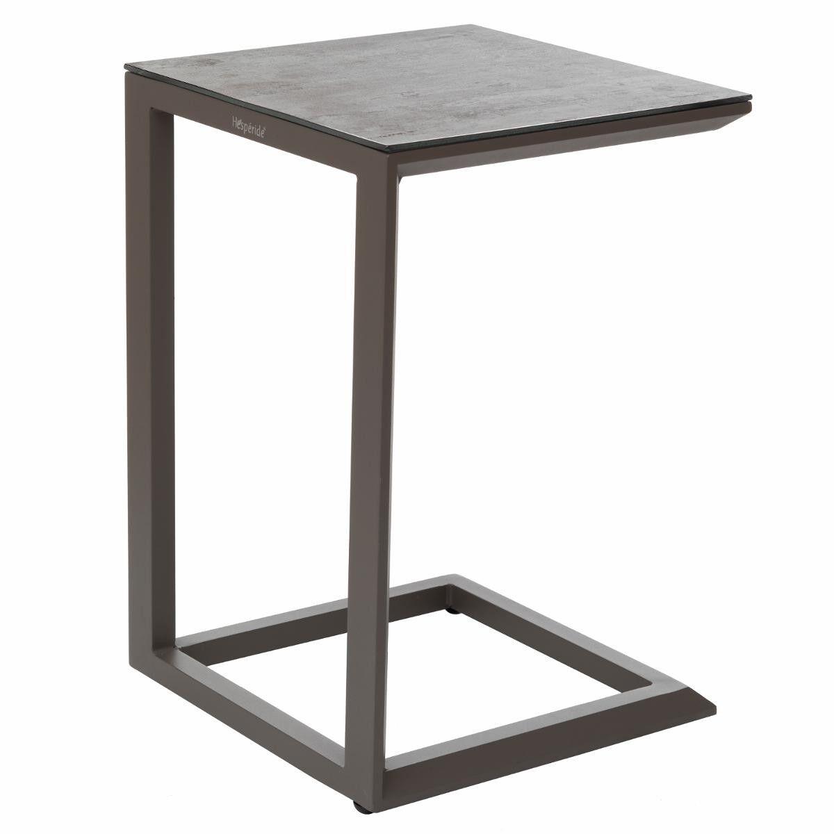 Hespéride Table d'appoint de jardin carrée Évasion Stone   Tonka 38 x 38 x 56,5 cm - Aluminium traité époxy, Verre trempé revêtement céramique