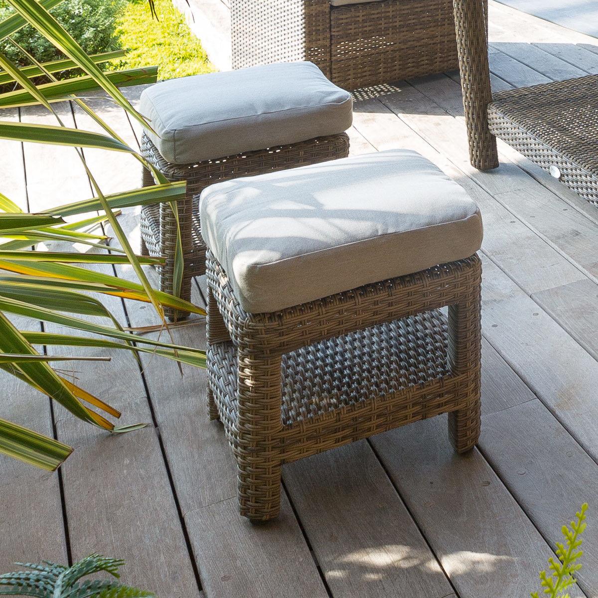 Hespéride Pouf de jardin carré Polynésia Naturae Aluminium traité époxy, résine tressée et polyester