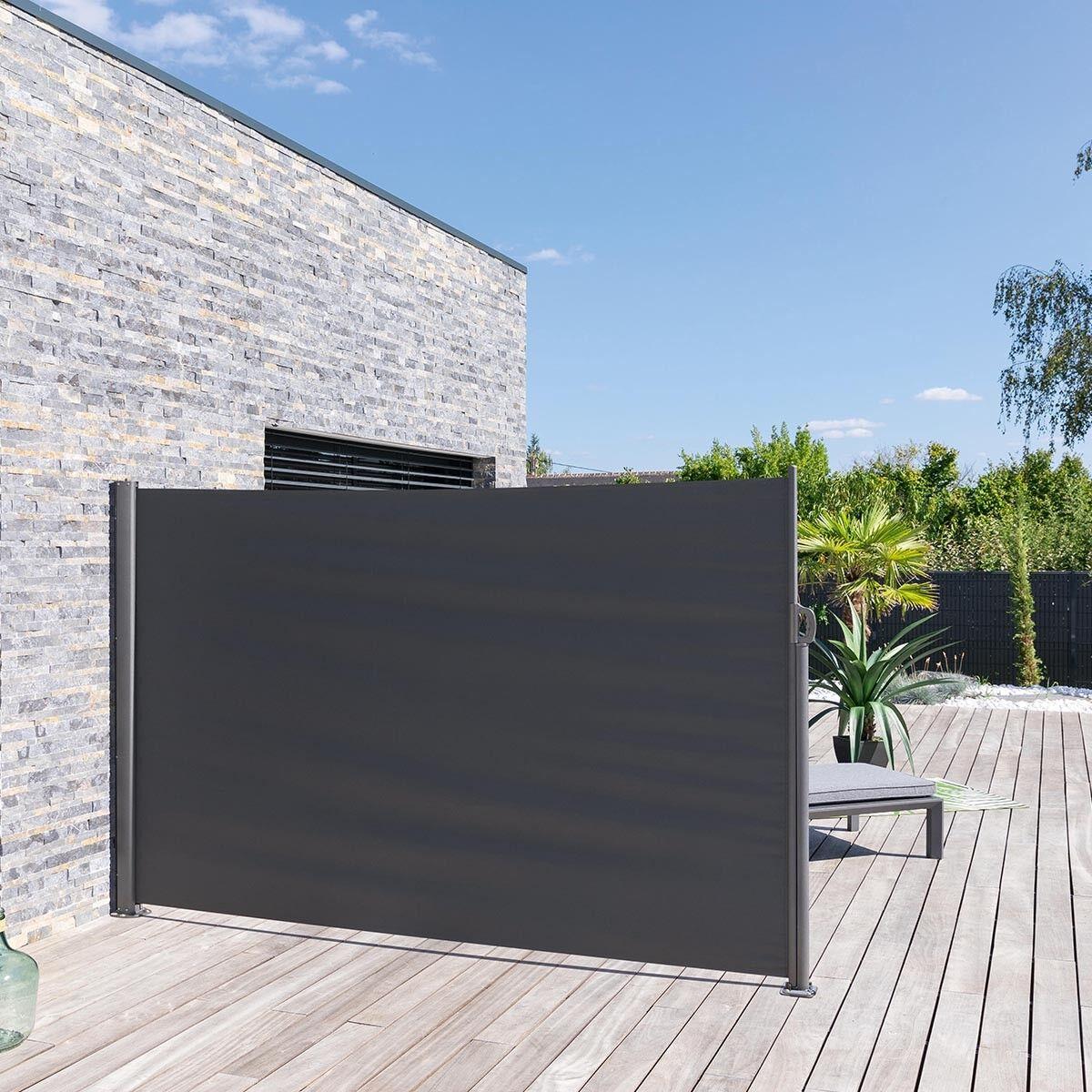 Hespéride Paravent rétractable Antao Graphite Jardin 3 m - Aluminium traité époxy, Toile polyester