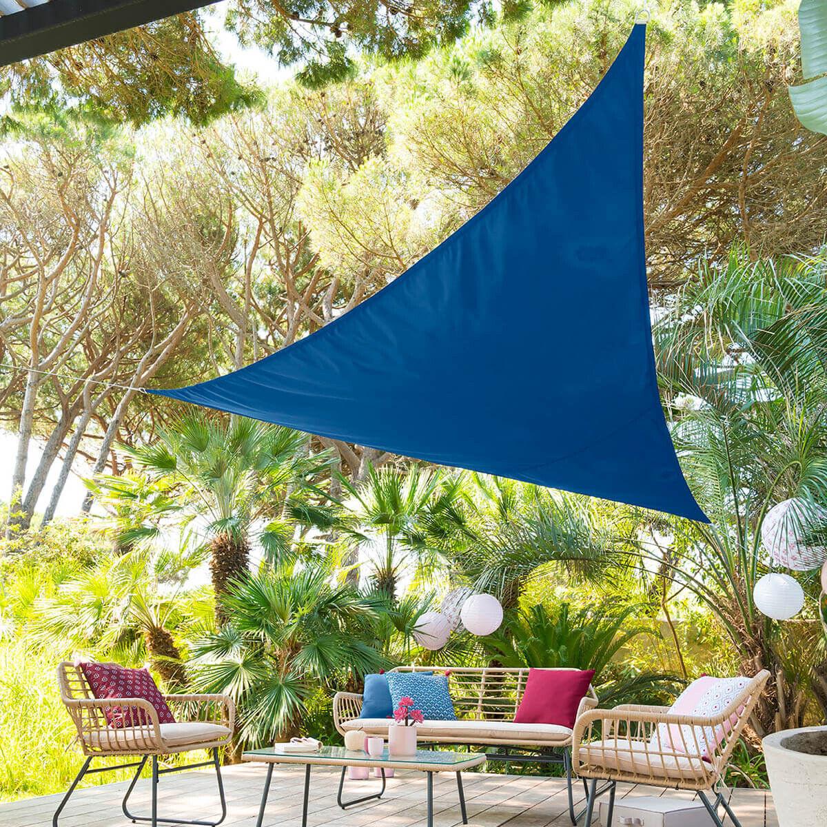 Hespéride Voile d'ombrage Curacao triangulaire Bleu indigo Jardin 3 x 3 x 3 m - Polyester