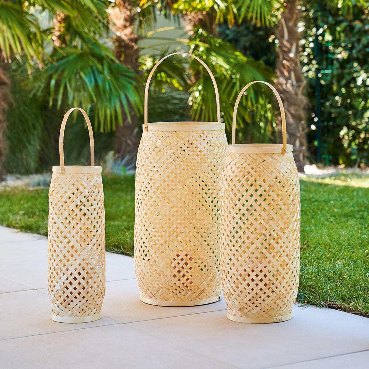 ATMOSPHERA Lot de 3 lanternes d'extérieur Beige Jardin H.52 cm