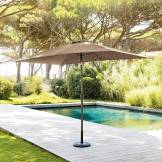Hespéride Parasol droit rectangulaire inclinable Fidji Taupe Jardin