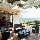 Hespéride Salon de jardin Bora Bora Réglisse 4 places - Acier traité époxy, Résine tressée, Polyester