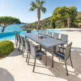 Hespéride Table de jardin extensible Allure Gris rayé poivre & Graphite