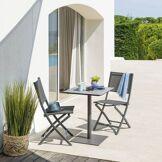 Hespéride Table de bistrot carrée Rimini Graphite & Storm Jardin