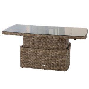 Hespéride Table basse rectangulaire relevable Mooréa Naturae Jardin Aluminium traité époxy, Résine tressée, Verre trempé - Publicité