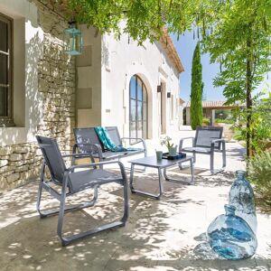 Hespéride Salon de jardin Gili Ardoise   Gris quartz 4 places - Aluminium, Fibre de ciment, Texaline - Publicité
