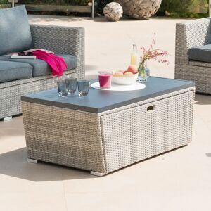 Hespéride Table basse coffre de jardin rectangulaire Tasmania Havane 120 x 63 x 45 cm - Aluminium traité époxy, Résine tressée - Publicité