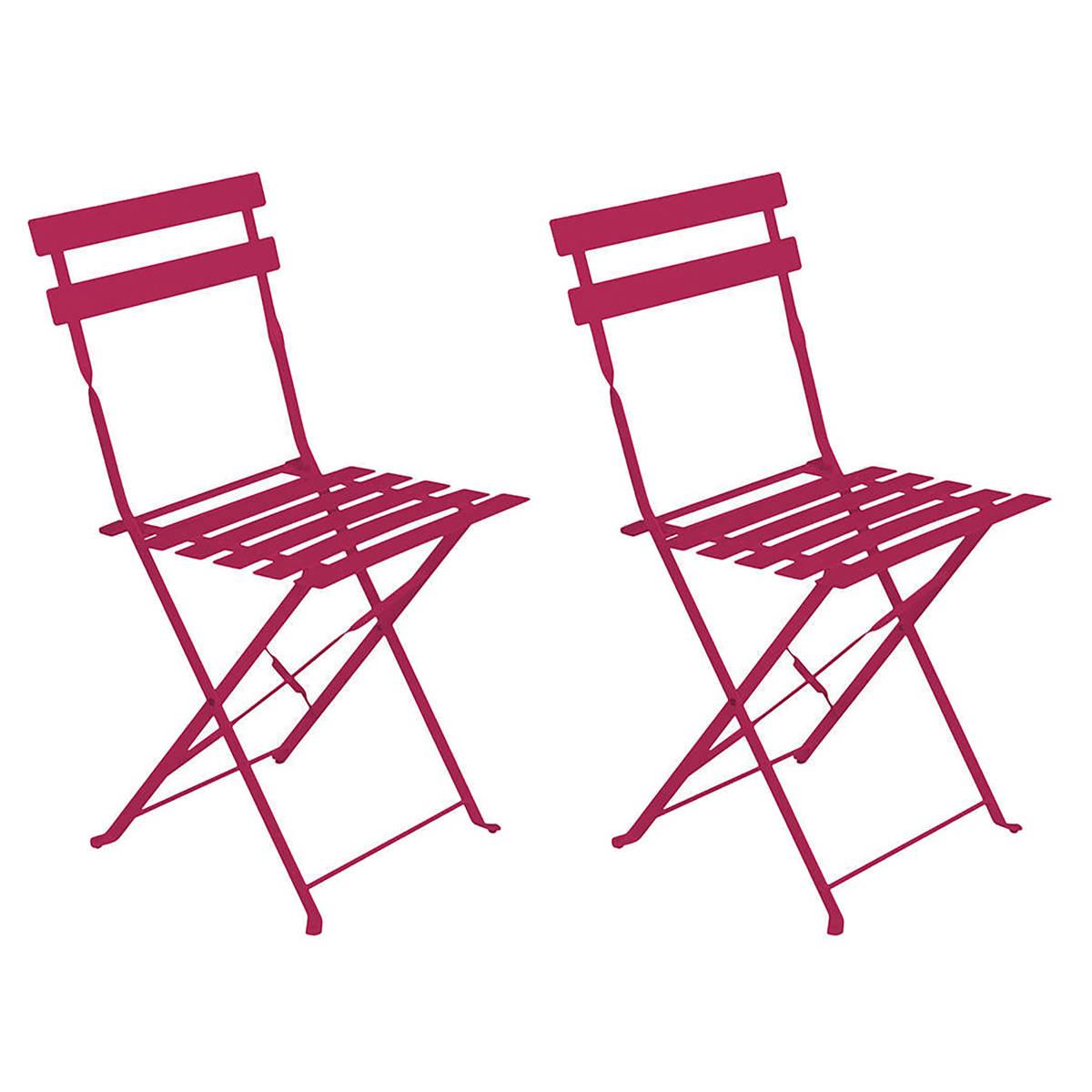 Hespéride Lot de 2 chaises de jardin pliantes Camargue Framboise brillant
