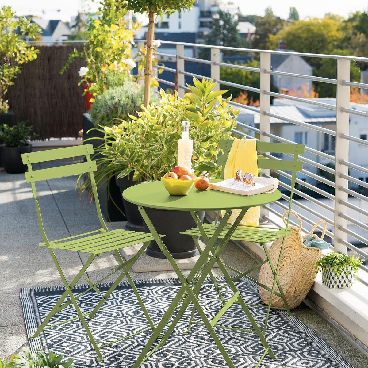 Hespéride Table de jardin pliante ronde Camargue Granny brillant