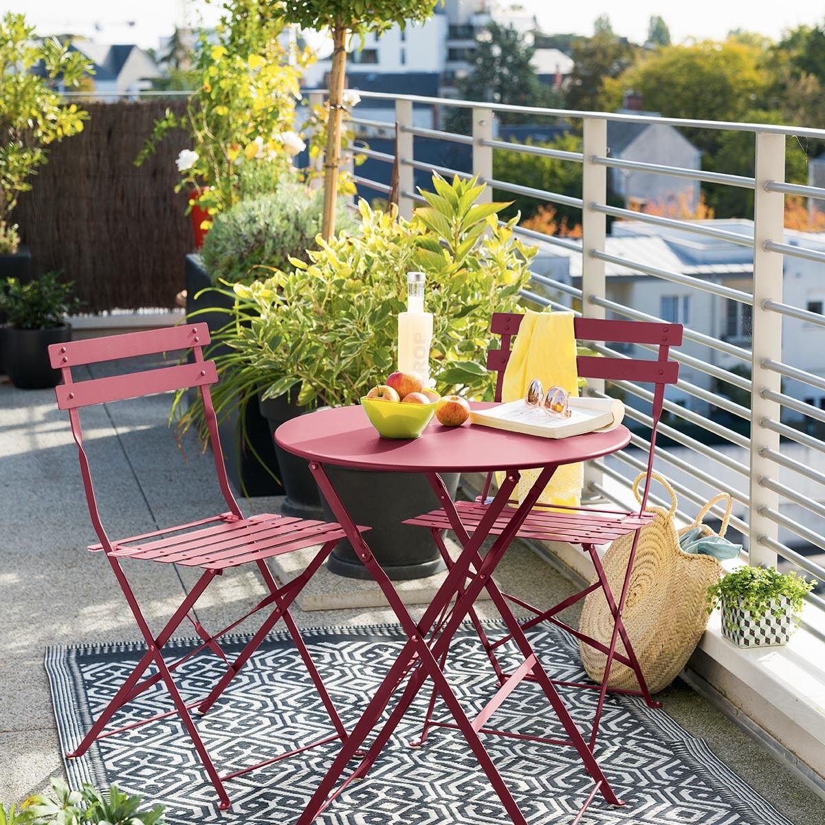 Hespéride Table de jardin pliante ronde Camargue Framboise brillant